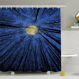 Forest Home Full Moon Illumination In Woods Star Night Heavenly Lunar Treetops Shower Curtain Set by Ambesonne Cheap