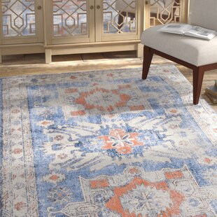 Best Reviews Joesph Dark Blue/White Area Rug By Bungalow Rose