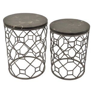 Lanphear 2 Piece Metal Marble Top End Table by Mercer41