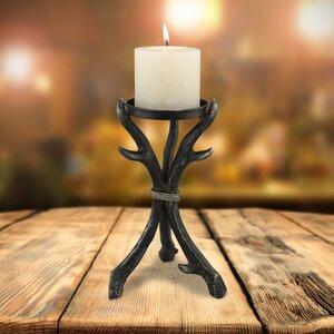 Stonebriar Pillar Holder Metal Horn Candlestick
