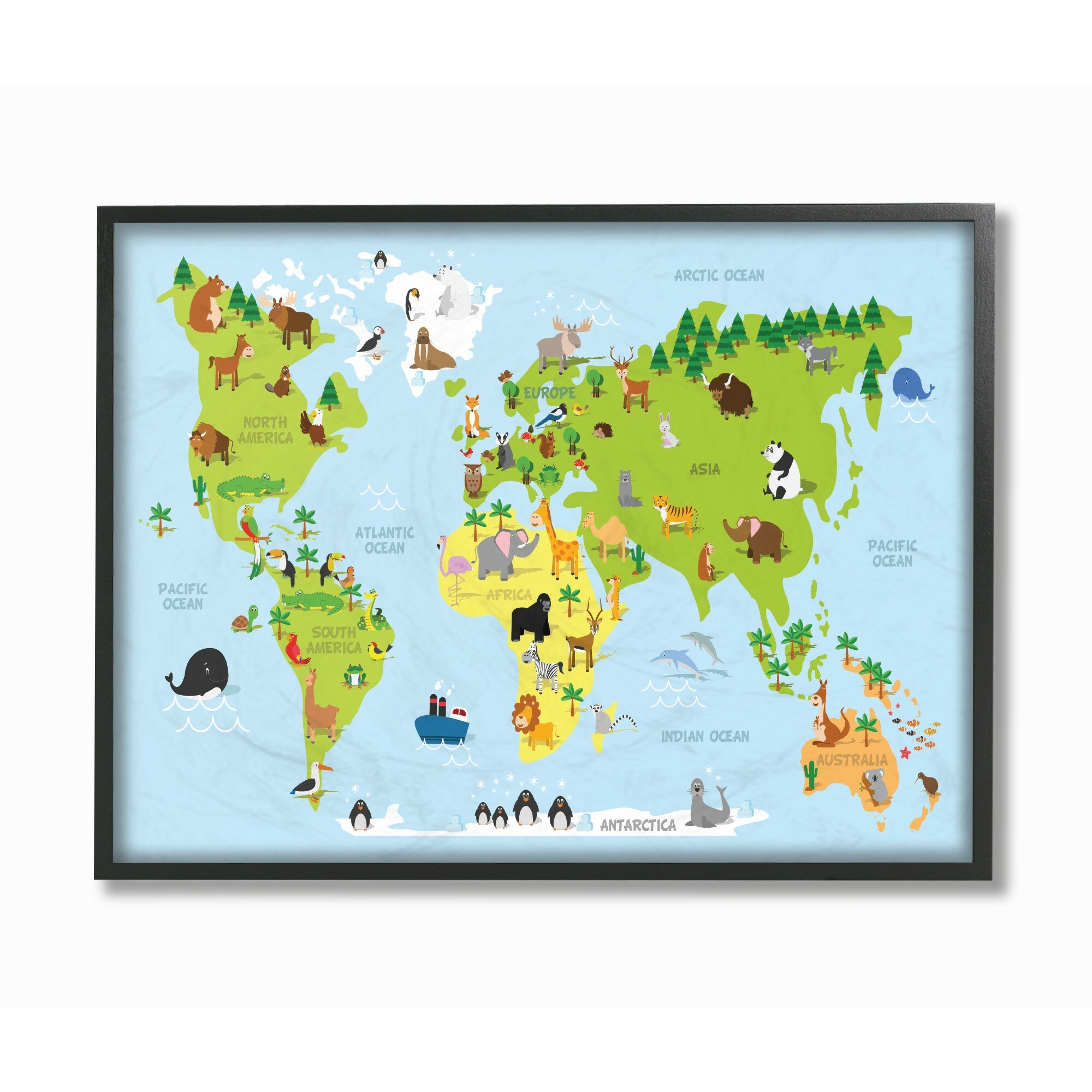 The Kids Room by Stupell World Map Cartoon And Colourful by In House  Artist, Proudly Made in USA