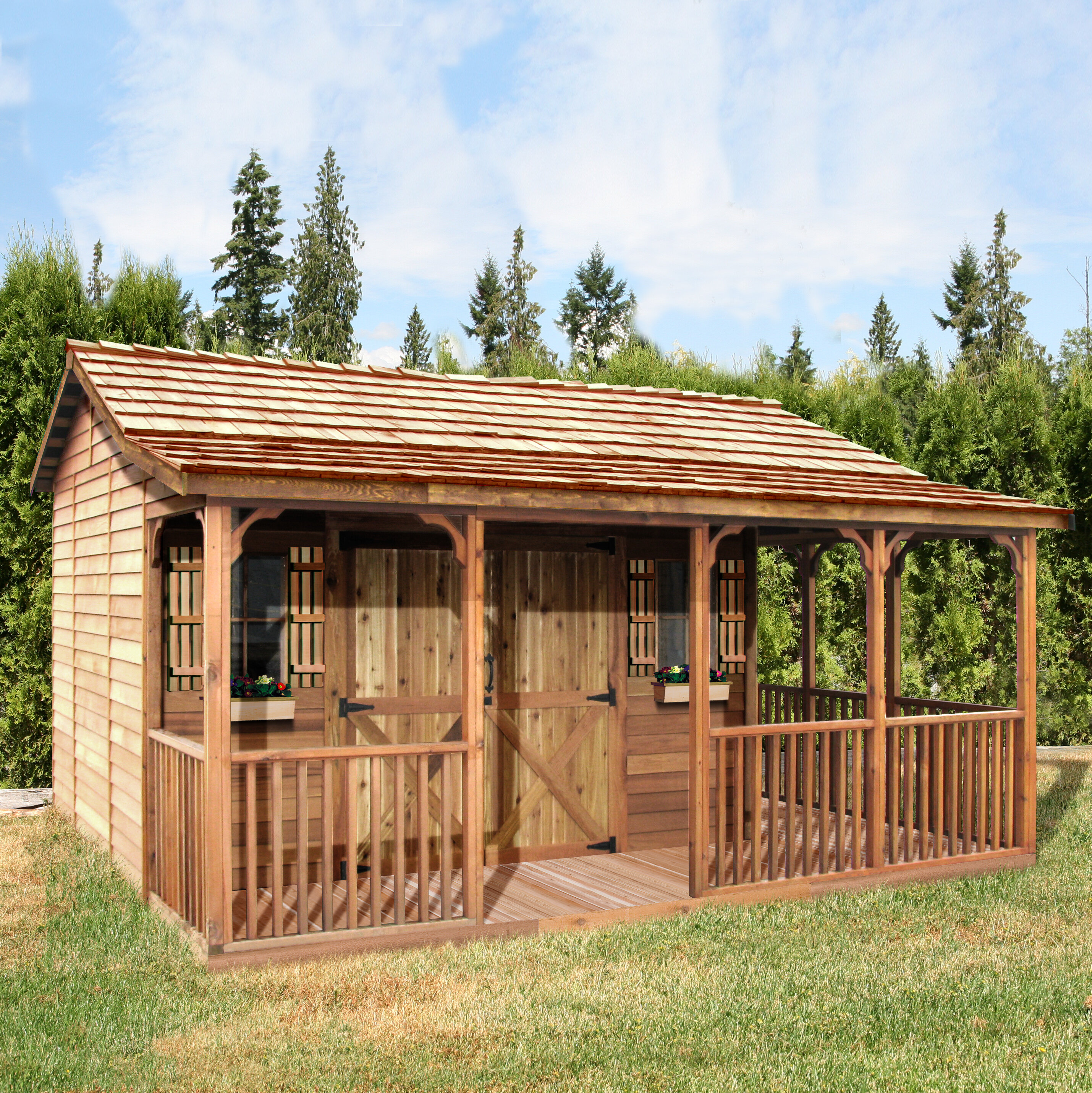 Hangar En Kit Bois farmhouse solid and manufactured wood storage shed