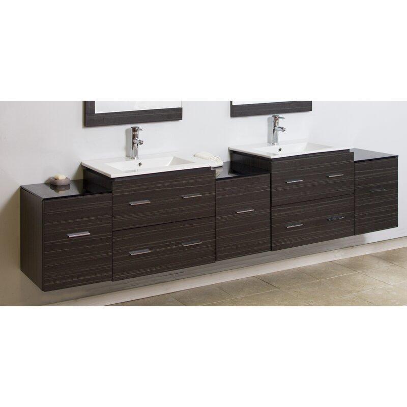 90 Double Modern Wall Mount Bathroom Vanity Set