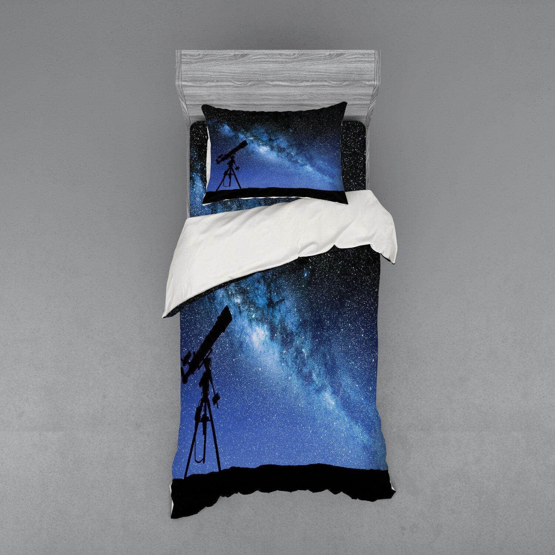 East Urban Home Telescope Valley Under Starry Night Sky Milky Way Atmosphere Galaxy Astronomy Duvet Cover Set Wayfair