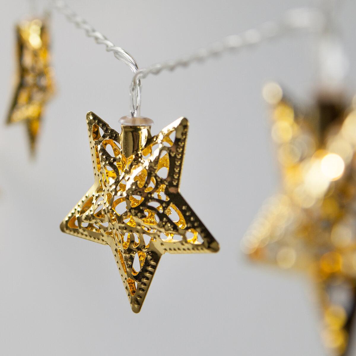 The Holiday Aisle Metal Star Led 10 Light Battery String Light Reviews Wayfair
