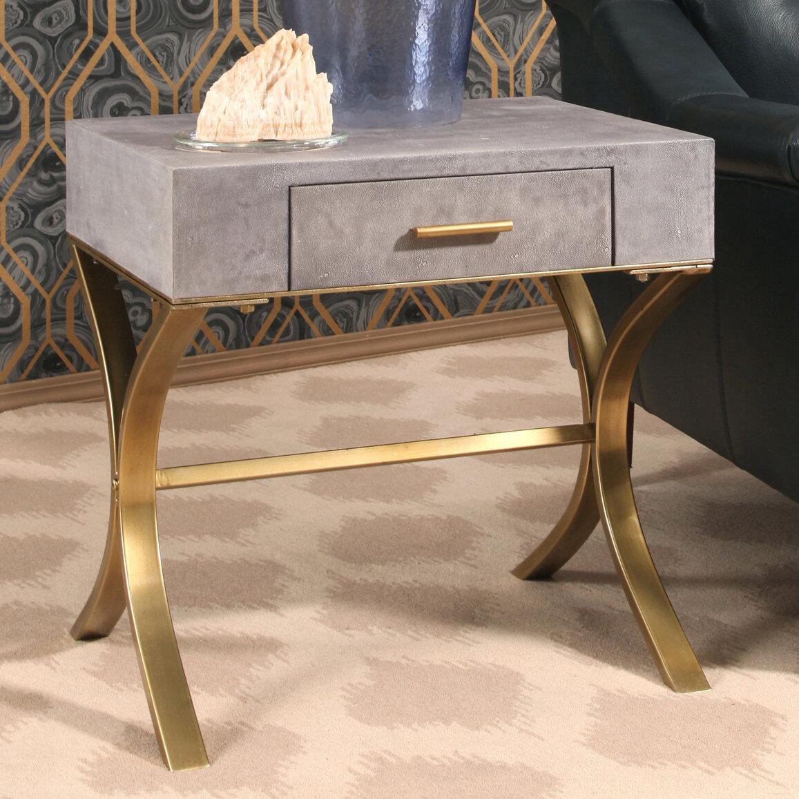 Beau Veronika Shagreen Leather End Table
