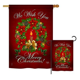 We Wish You 2-Sided Polyester 2.3 X 3.3 Ft. Flag Set by Breeze Decor