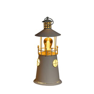 Saffron Metal Lighthouse Beige Battery Powered LED Outdoor Table Lamp By Longshore Tides