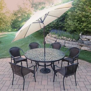 Oakland Living Tuscany 7 Piece Dining Set with Umbrella