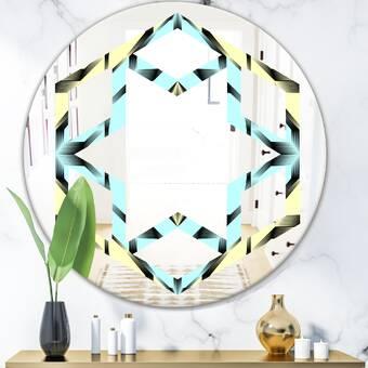 East Urban Home Geometrical Abstract Minimal Pattern Viii Space Modern Frameless Wall Mirror Wayfair