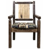 Abella Slat Back Arm Chair in Brown by Loon Peak®