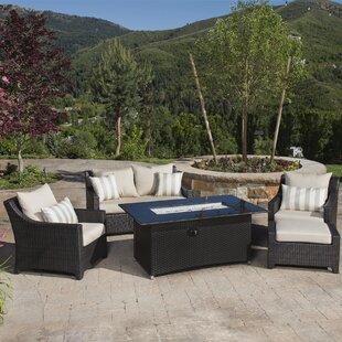 Three Posts Northridge 5 Piece Rattan Sofa Set with Cushions