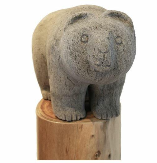 FeatherockInc Hand Carved Pumice Stone Garden Bear Statue | Wayfair