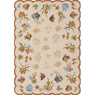 Rundall Hand-Hooked Beige Indoor/Outdoor Area Rug