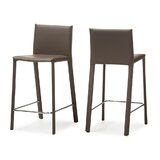 Baxton Studio Crawford Modern And Contemporary Taupe Leather Upholstered Counter Height Stool (Set Of 2) (Set of 2) by Baxton