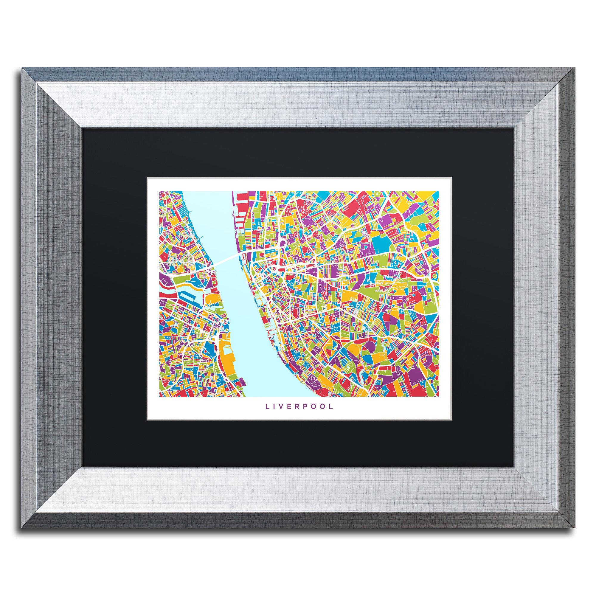 Trademark Art Liverpool Street Map 4 Framed Graphic Art Print On Canvas Wayfair