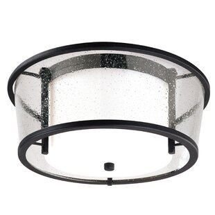 Brayden Studio Borrelli 1-Light Glass Shade Flush Mount