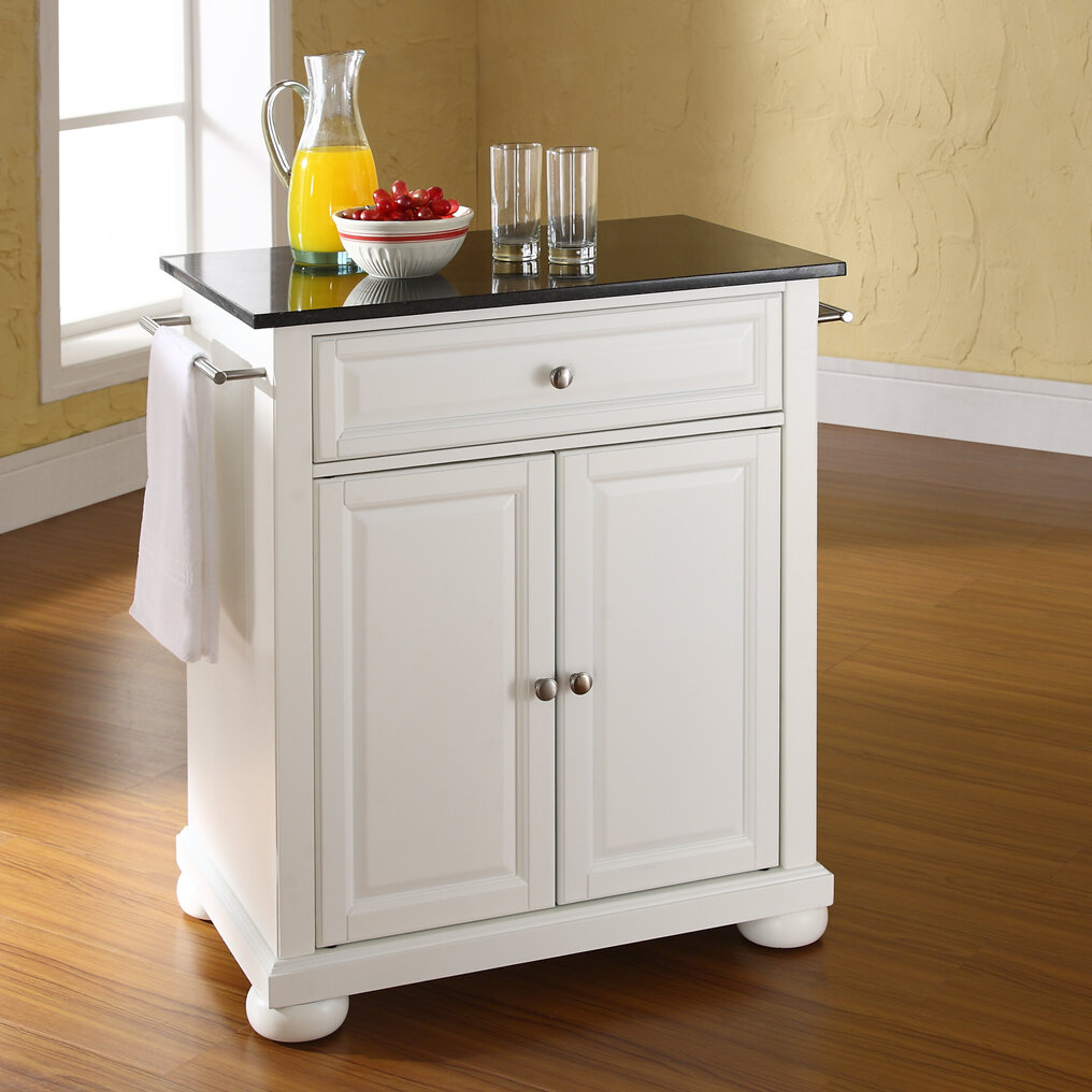 Three Posts Hedon Portable Kitchen Cart With Granite Top U0026 Reviews | Wayfair