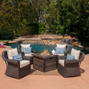 Gracie Oaks Ariella 5 Piece Rattan Conversation Set with Cushions