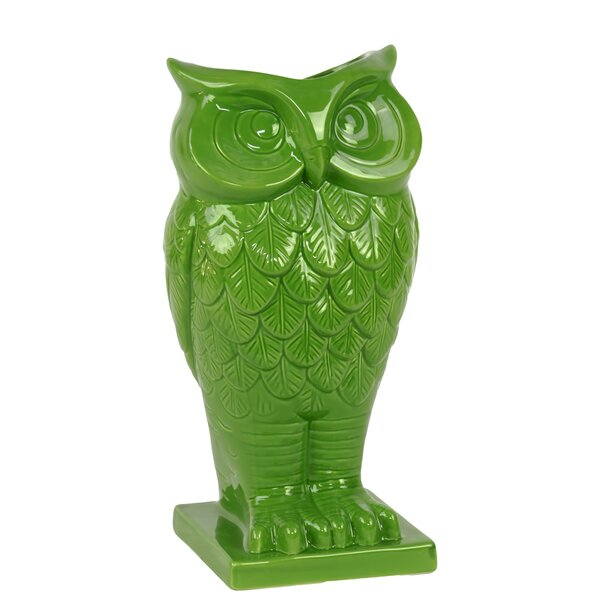 Urban Trends Ceramic Owl Vase With Base In Gloss Wayfair