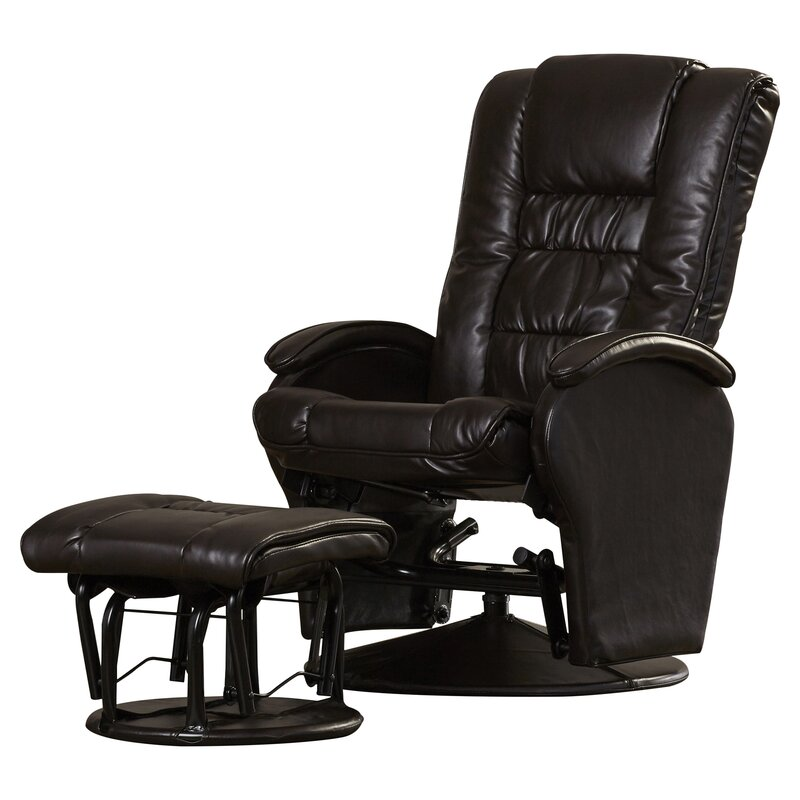 Symple Stuff Leather Glider Recliner with Ottoman Reviews Wayfair