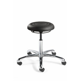 ErgoLux Height Adjustable Backless Stool with Dual-Wheel Hard Floor Casters