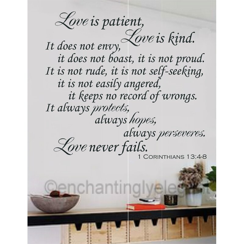 Love is Patent Love is Kind Bible Verse Wall Decal  sc 1 st  Wayfair & Enchantingly Elegant Love is Patent Love is Kind Bible Verse Wall ...