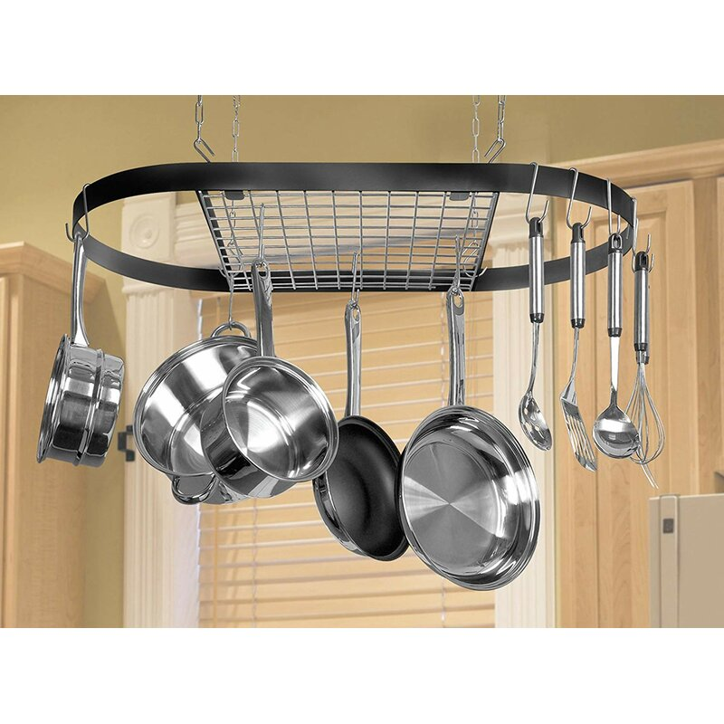 Kinetic Classicor Wrought-Iron Hanging Oval Pot Rack ...