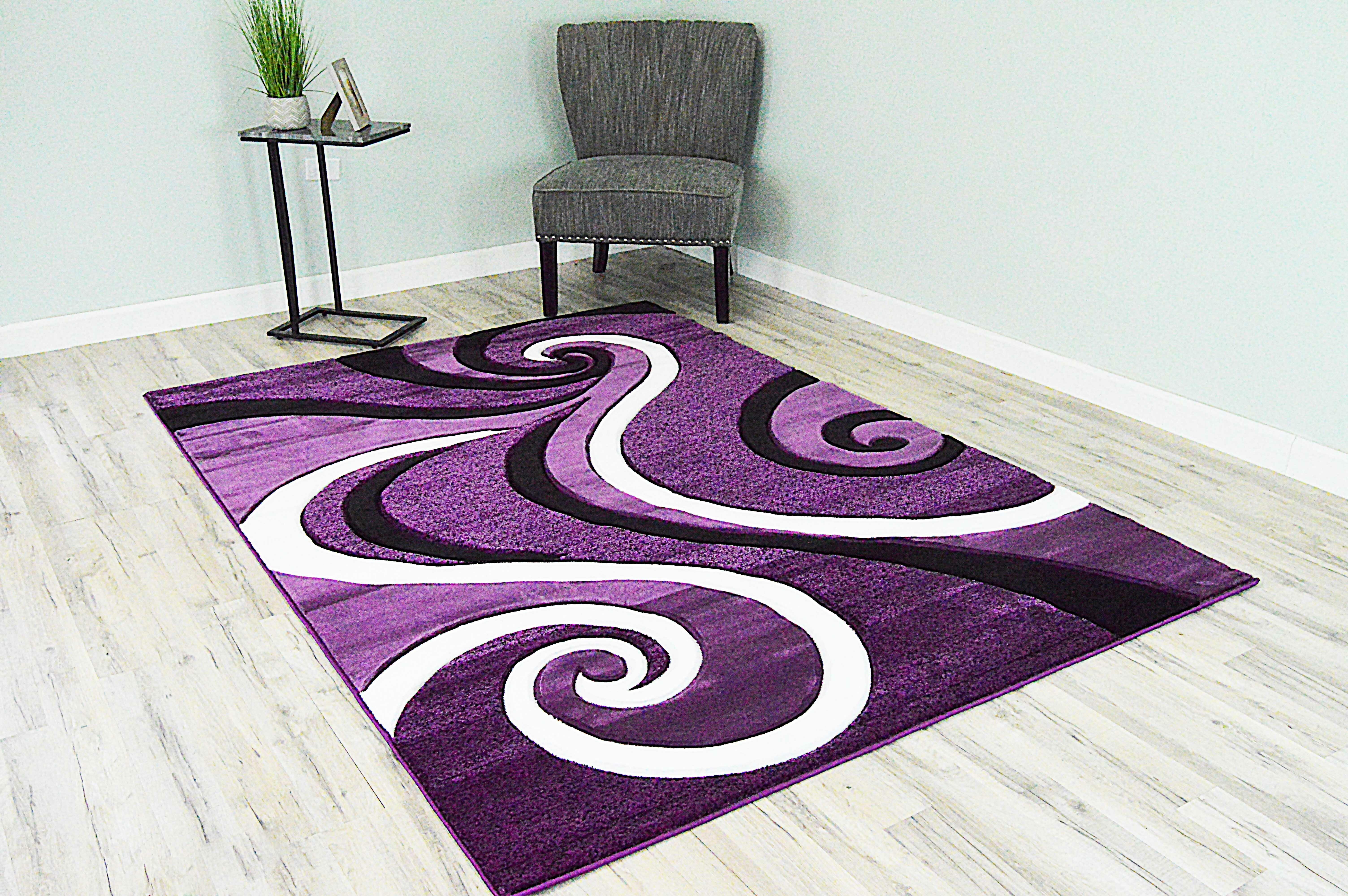 Ivy Bronx Mccampbell 3d Abstract Purple Black Area Rug Reviews Wayfair
