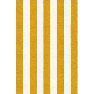 Best Deals Watlington Stripe Hand-Woven Wool Dark Gold/White Area Rug By Breakwater Bay