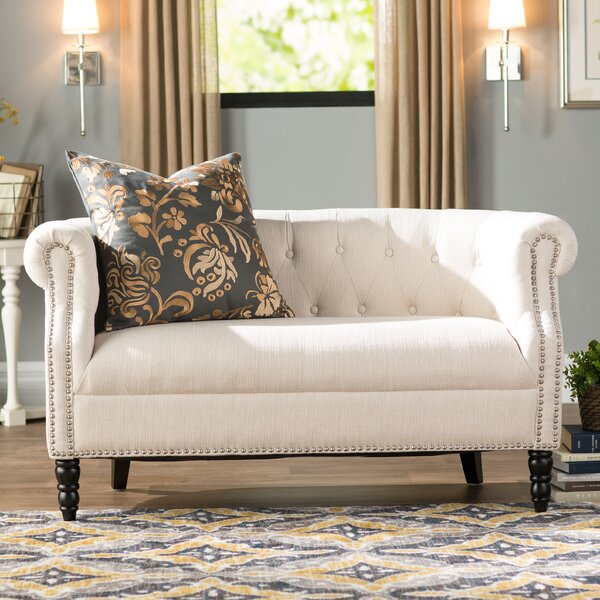 Andover Mills Quinones54 Wide Rolled Arm Chesterfield Loveseat Reviews Wayfair