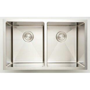 32 X 18 Double Basin Undermount Kitchen Sink with 16 Gauge