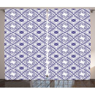 Clute ative Arts and Craft Theme Flower Pattern on Porcelain Decorations for Home Print Graphic Print & Text Semi-Sheer Rod Pocket Curtain Panels (Set of 2) by Latitude Run
