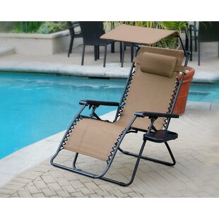 Folding Zero Gravity Chair with Sunshade And Drink Tray (Set of 2)