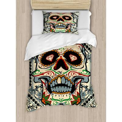 55b16dcc Sugar Skull Sugar Killer Calaveras Framework Day of the Dead Vintage Gothic  Design Duvet Cover Set