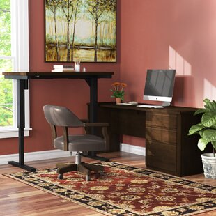 Kenworthy Reversible L-Shape Standing Desk with Height Adjustable Table