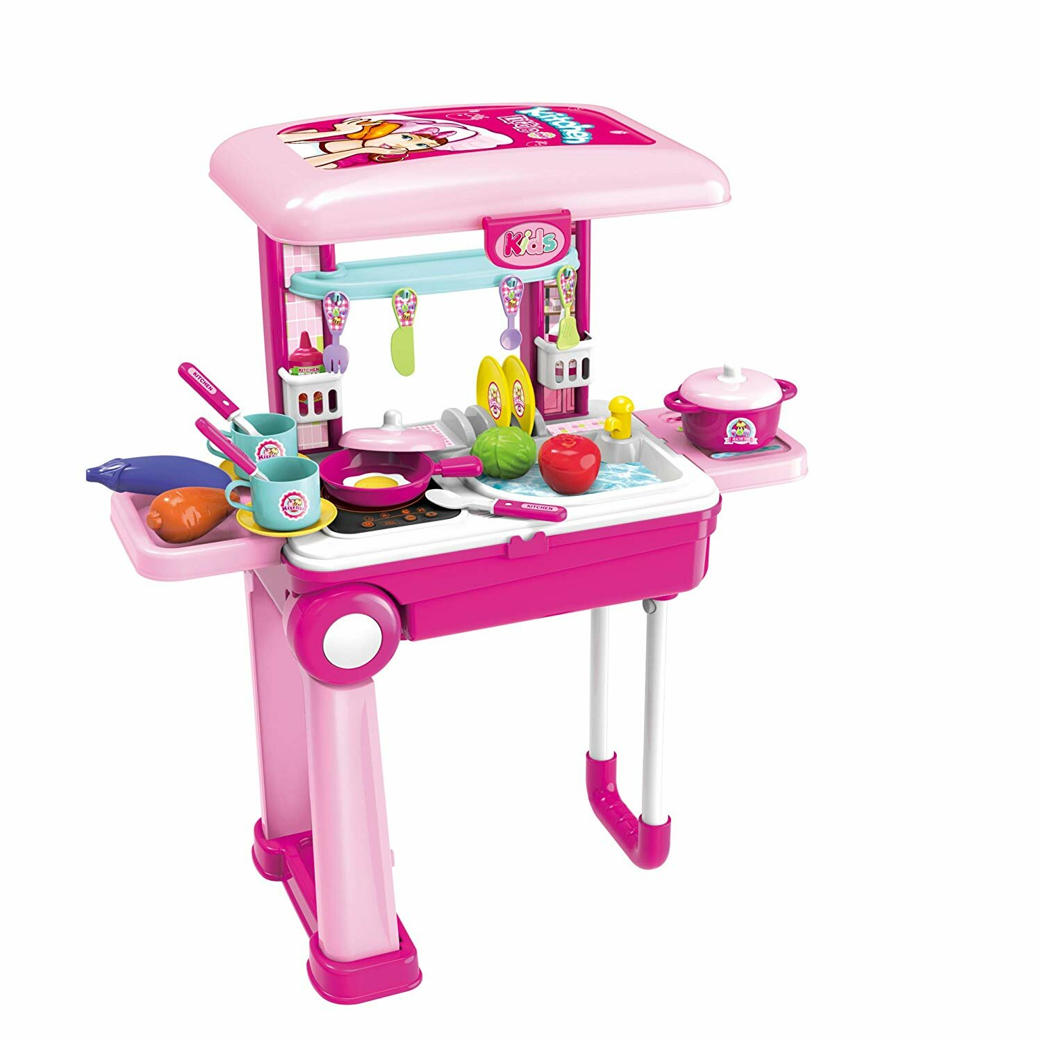 11 Piece 2-in-1 Children's Portable Kitchen Set
