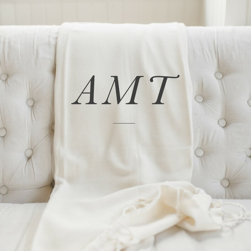 Gracie Oaks Irven Personalized Monogram Cotton Blanket Wayfair