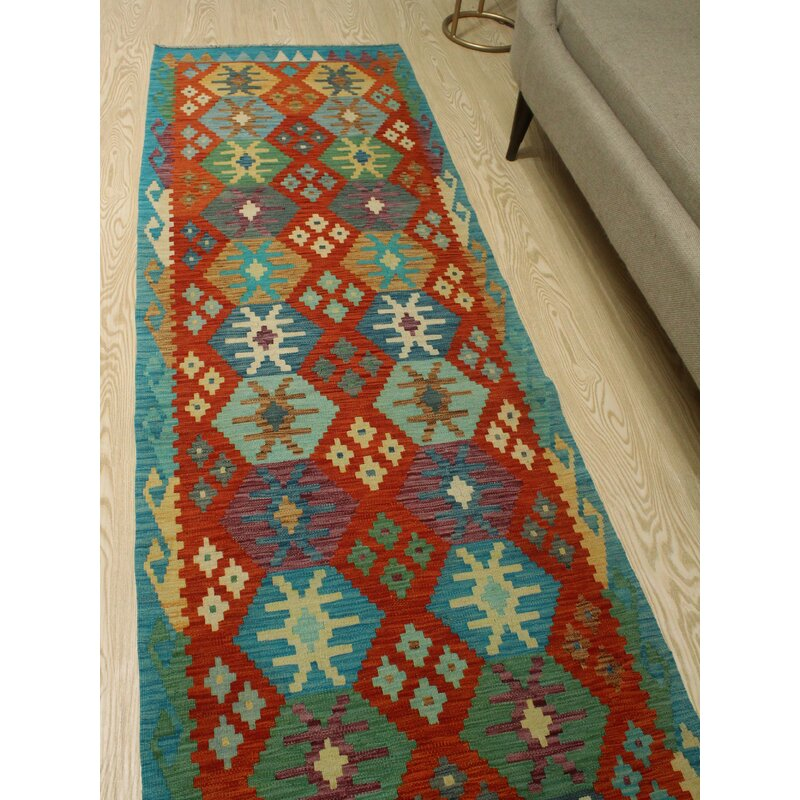 Foundry Select Runner Hults Southwestern Handmade Kilim Wool Green Blue Red Area Rug Wayfair