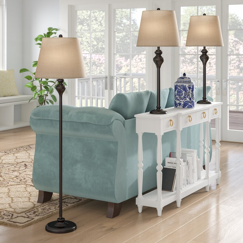 Andover Mills Peoria 3 Piece Table And Floor Lamp Set Reviews