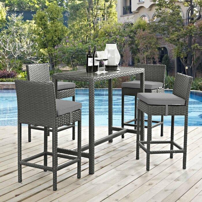 Groovy Tripp 5 Piece Bar Height Dining Set With Cushion Uwap Interior Chair Design Uwaporg