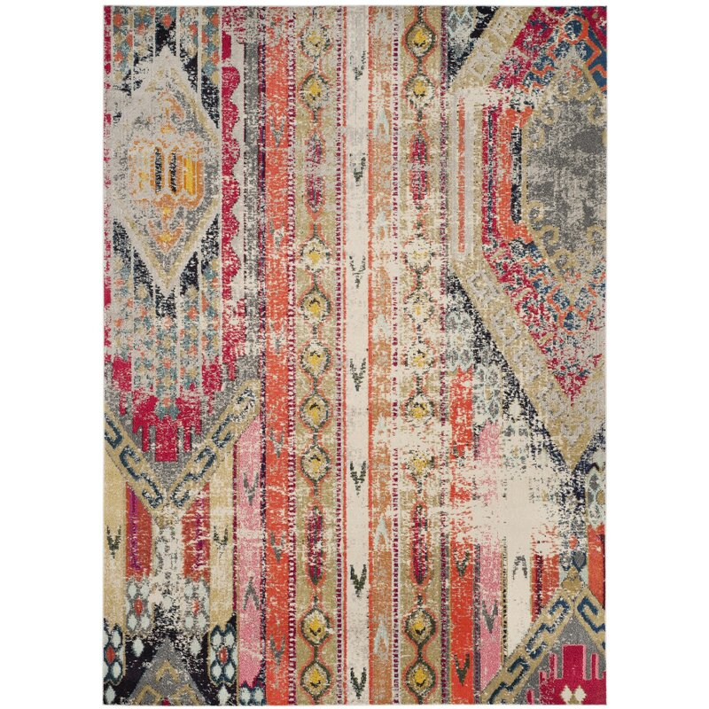Bungalow Rose Alfred Abstract Grey Orange Pink Area Rug Reviews