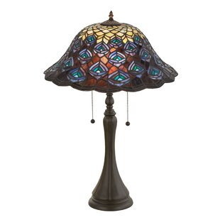 Nouveau Peacock Feather 22 Table Lamp