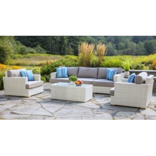 Mykonos Deep 6 Piece Rattan Sofa Seating Group with Cushions