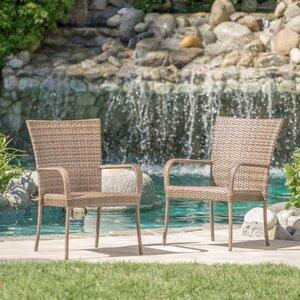 Kaelyn 2 Piece Outdoor Wicker Armchair (Set of 2)