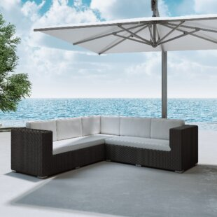 Ackerson Rattan Sectional Set with Cushions