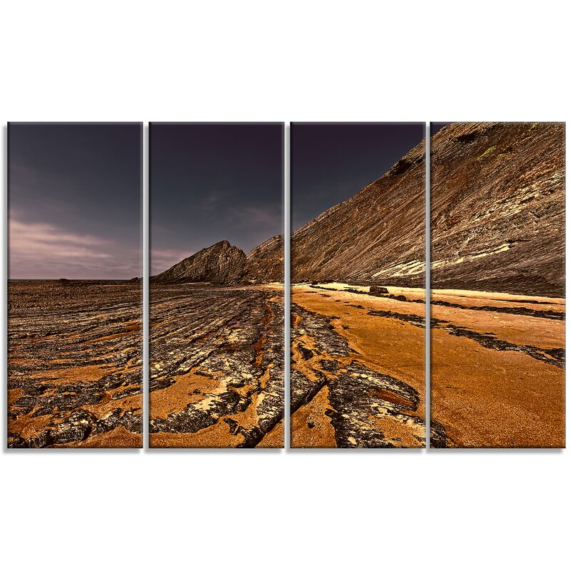 Designart Brown Rocky Coast Portugal 4 Piece Wall Art On Wrapped Canvas Set Wayfair