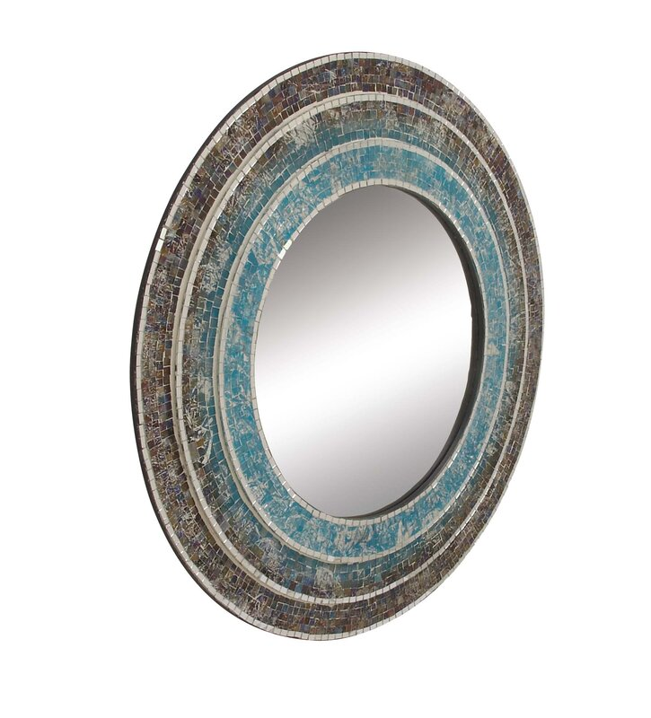 Turquoise Wall Mirror cole & grey wood turquoise mosaic wall mirror & reviews | wayfair