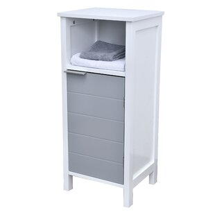 Freestanding Bathroom Floor 1 Door with Shelves 14 W x 31.8 H Linen Tower by Evideco