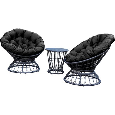 Barrigan 3 Piece 2 Person Seating Group with Cushions Fabric: Black by World Menagerie